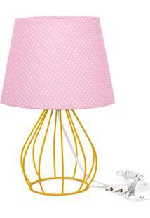 Abajur Cebola Dome Rosa/Bolinha Com Aramado Amarelo