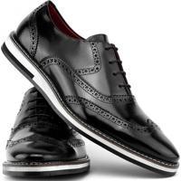 3ae15db163 Sapato Social Gofer Com Cadarço Solado De Couro Masculino - Masculino-Preto