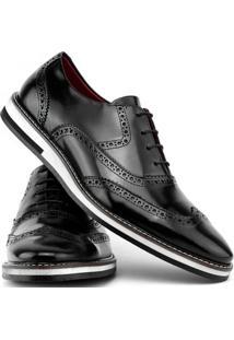 Sapato Social Gofer Com Cadarço Solado De Couro Masculino - Masculino-Preto