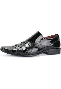 Sapato Social Verniz Texturizado Com Recortes Masculino Sapatofran Preto