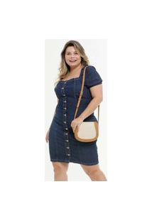 Vestido Plus Size Feminino Midi Jeans