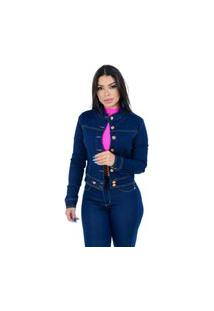 Jaqueta Jeans Destmoda Gola Padre Amaciada Azul