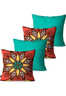 Kit Com 4 Capas Para Almofadas Decorativas Turquesa Mandala 45X45Cm Pump Up