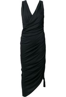 Lanvin Ruched Asymmetric Dress - Preto