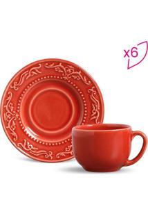 Jogo De Xícaras De Chá Acanthus- Vermelho- 6Pçs-Porto Brasil