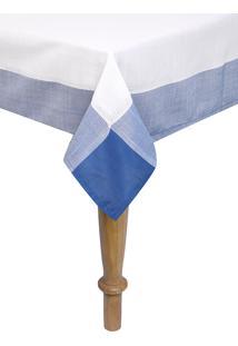 Toalha De Mesa Naturalle Chamonix Bco/Azul 1,8Mx3 Azul