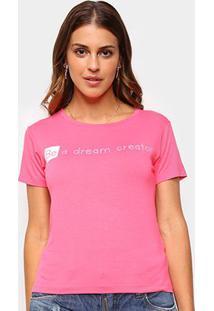 Camiseta Volare Be A Dream Creator Manga Curta Feminina - Feminino-Pink