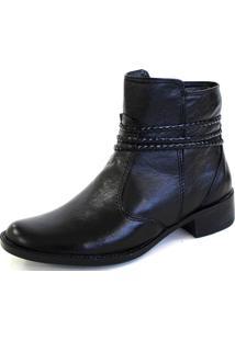 Bota Botinha Cano Curto Sapatotop Shoes Preta