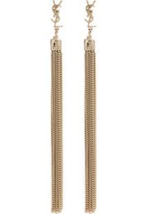 Saint Laurent Monogram Tassel Drop Earrings - Metálico