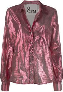 8Pm Blusa Metálica Com Mangas Longas - Rosa