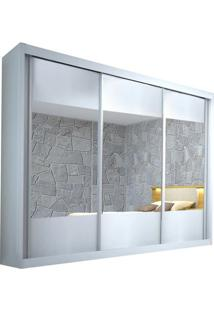 Guarda-Roupa Atlanta Com Espelho - 3 Portas - 100% Mdf - Branco