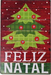 Quadro Iluminado Led ÁRvore Feliz Natal 23X15 Cm Vermelha - Vermelho - Dafiti