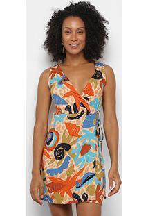 Vestido Cantão Estampado Transpassado Amarração Feminino - Feminino-Laranja