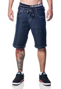 Bermuda Nineclouds Skateboards Jeans Dark Blue Azul