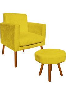Kit Poltrona Decorativa Thais E Puff Veronês Suede Amarelo Pés Palito - D'Rossi