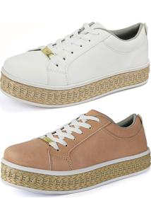 5a4d5a3e1 ... Kit Sapatenis Confort Flatform Cr Shoes Nude E Branco