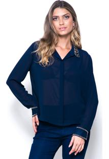 Camisa 101 Resort Wear Bordado Azul-Marinho