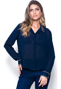 Camisa 101 Resort Wear Crepe Bordado Manga Longa Azul-Marinho