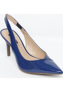 Sapato Chanel Em Couro Com Recortes - Azul Escuro - Jorge Bischoff
