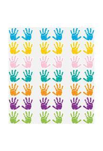 Adesivo De Parede Infantil Máos Coloridas 8X9Cm 42Un