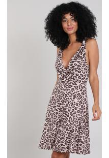 Vestido Feminino Curto Estampado Animal Print Com Nó Na Alça Bege