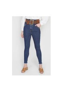 Calça Jeans Lança Perfume Skinny Com Cinto Azul
