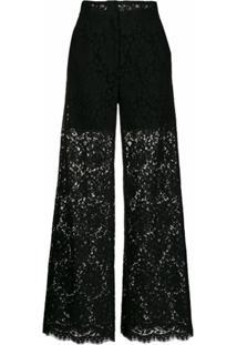 Dolce & Gabbana Calça Com Padronagem De Renda - Preto