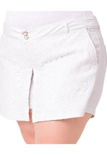 Shorts Saia Plus Size Com Renda Feminino - Feminino-Branco