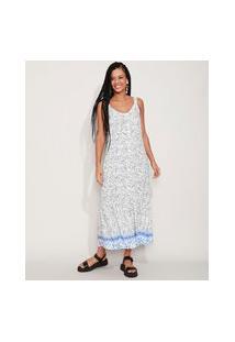 Vestido Feminino Longo Estampado Floral Com Barrado Alça Média Off White