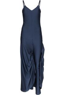 Y/Project Vestido Longo Com Alças Finas - Azul