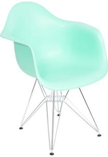 Poltrona Eames Dar- Verde ÁGua & Prateada- 82X63X44Cor Design