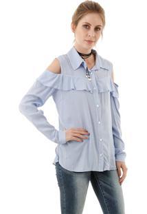 Camisa Listrada Com Babado E Ombro Vazado