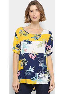 Blusa C & V Collection Floral Feminina - Feminino-Azul+Amarelo