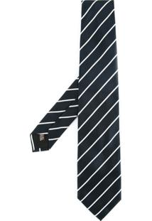 United Arrows Gravata Listrada De Seda - Azul