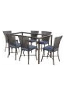 Jogo De Jantar 6 Cadeiras Turquia Tabaco A29 E 1 Mesa Retangular Sem Tampo Ideal Para Área Externa Coberta