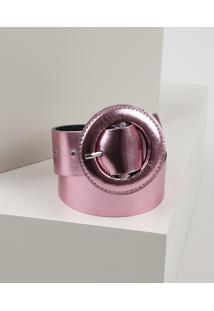 Cinto Feminino Manu Gavassi Metalizado Com Fivela Redonda Encapada Rosa