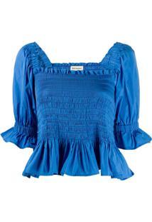 Molly Goddard Blusa Cropped Com Babado - Azul