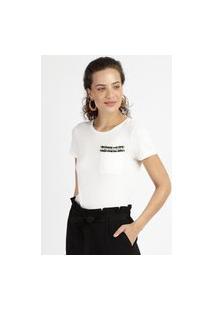 Blusa Feminina Com Bolso E Aplicação De Pérolas Manga Curta Decote Redondo Branca