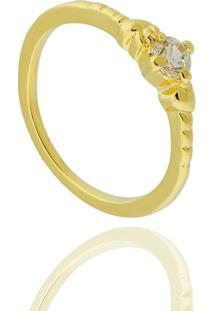 9b5fb94245a86 ... Anel Solitário Zircônia Semi Joia - Feminino-Dourado