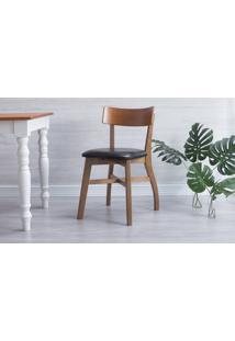 Cadeira Estofada Bella - Amêndoa E Couro Preto Tec. A100 - 44X51X82 Cm