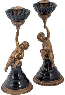 Conj. De Castiçal De Porcelana E Bronze - Linha Black