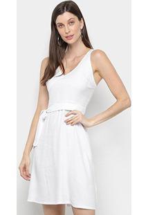 Vestido Mercatto Liso Amarração - Feminino-Branco