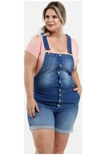 Jardineira Feminina Jeans Botões Plus Size Marisa