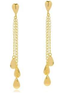 Brinco Le Diamond Franjas Com Gotas - Feminino-Dourado