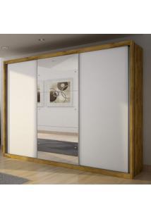 Guarda Roupa Casal Com Espelho 3 Portas De Correr Paradizzo Gold Siena Móveis Freijó Dourado/Branco