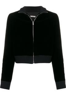Miu Miu Logo-Stripe Velvet Track Jacket - Preto