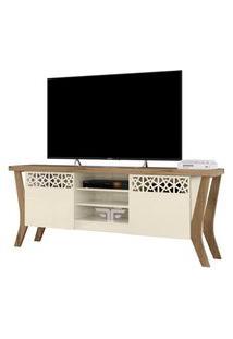 Rack Bancada Para Tv Até 60 Polegadas Sala De Estar Decor Off White/Canela - Frade Movelaria