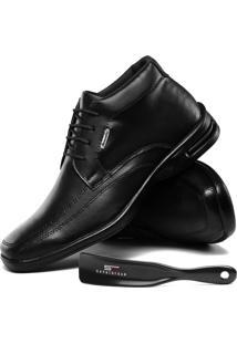 Sapato Casual Social Sapatofran Ortopédico Confort Preto Com Calçadeira