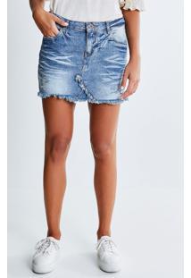 Saia Jeans Com Recorte