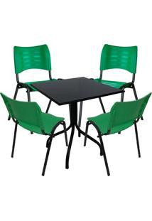 Conjunto De Mesa Fixa 70X70 Cm Preta Com 4 Cadeiras Empilháveis Verde Plástico